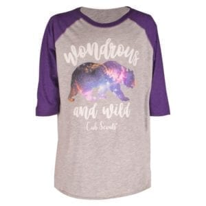 "Cub Scout ""Wondrous and Wild"" girl's 3/4 sleeve t-shirt"
